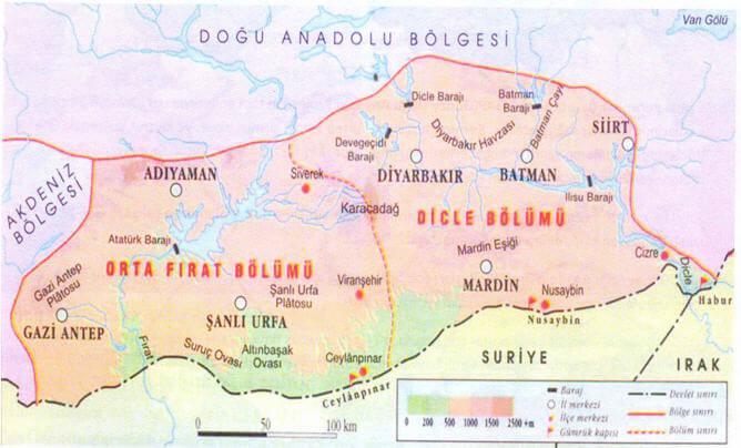 Güneydoğu Anadolu Bölgesi Bölümleri Haritası