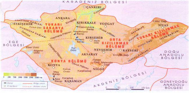 İç Anadolu Bölgesi Bölümleri Haritası