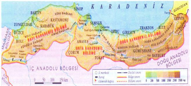 Karadeniz Bölgesi Bölümleri Haritası