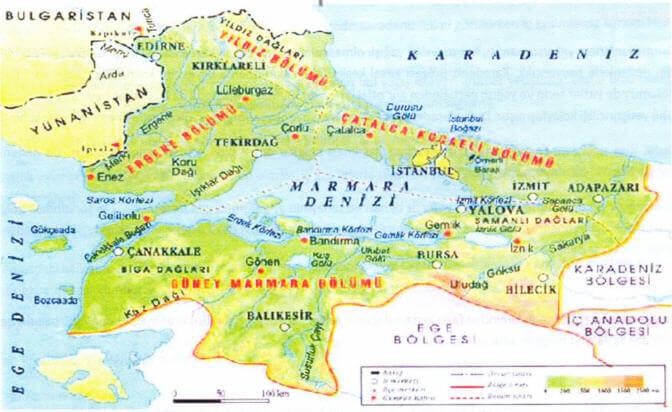Marmara Bölgesi Bölümleri Haritası