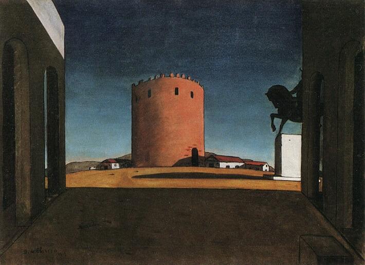 Giorgio de Chirico'nun Kırmızı Kule isimli tablosu