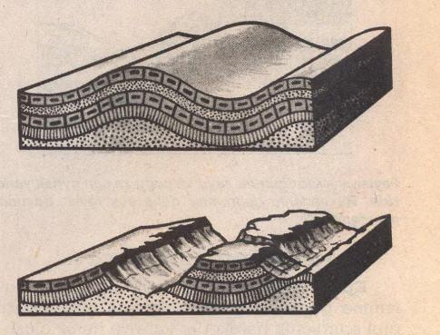 Yukarıda bir kıvrım örneği yer almaktadır.  Aşağıda ise bu kıvrımın aşınıma uğramış biçimi.