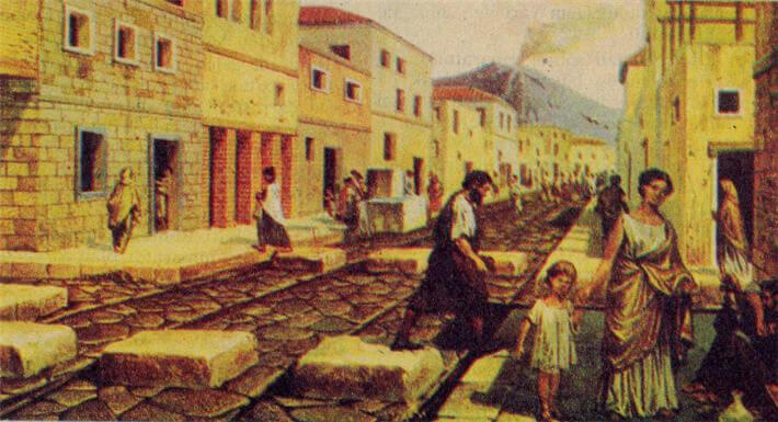 YANARDAĞ ATEŞ PÜSKÜRÜNCE YANIP YIKILAN ŞEHİR: POMPEİ. Pompei'deki kalıntılardan yararlanarak çizilen bu resimde şehrin ana caddelerinden birini görüyoruz. Evlerin alt katlarında çeşitli yapım evleri, dükkânlar, meyhaneler bulunurdu. Sokaklarda yayalar için geçit yerleri ayrılmıştı. Arabalar buralarda yavaşlar, tekerlekleri yaya geçidi taşlarının iki yanından geçecek şekilde yol alırlardı.