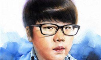 Bir Japon çocuğun suluboya ile çizilmiş portresi