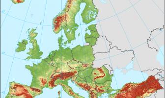 Avrupa Dağlarının Haritası