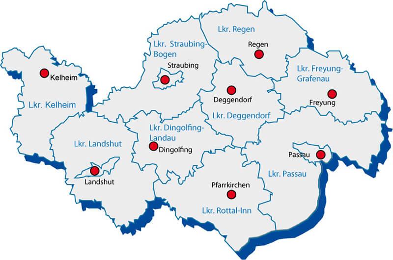 Aşağı Bavyera Haritası