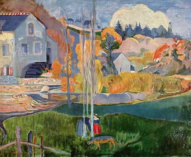 Paul Gauguin-Pont-Aven'de Su Değirmeni isimli 1894 yılına ait bir çalışması.