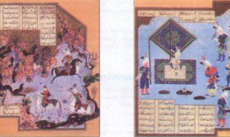 Din Dönemi edebiyatlarında kimi eserleri minyatürlerle süslemek, bir geleneğe dönüşmüştür. Aşağıdakiler, minyatürlerle süslenmiş bir Şehnâme yazmasından alınmıştır.
