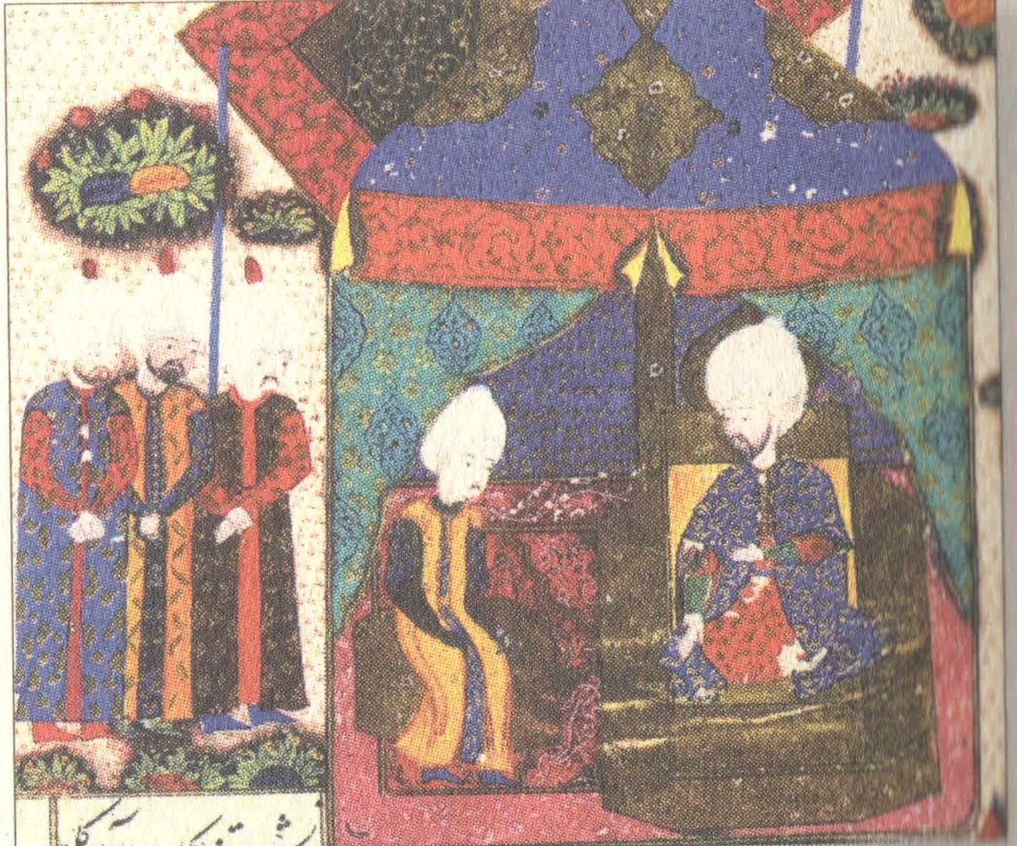 Nahcivan Seferi sırasında Şehzade Bayezid'i Kanuni'nin huzurunda gösteren bir minyatür.