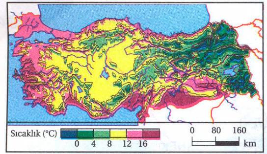 Türkiye'de Yıllık İndirgenmiş Sıcaklık Haritası
