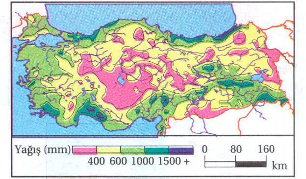 Türkiye'de Yağış Dağılışı Haritası