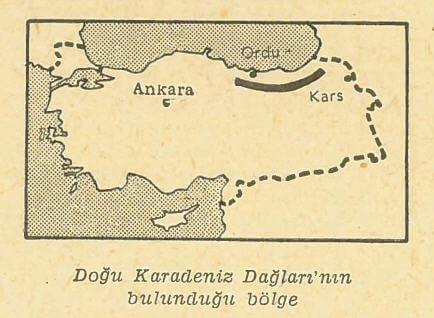 Doğu Karadeniz Dağları'nın bulunduğu bölge