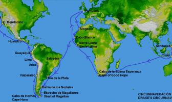 Francis Drake dünyanın çevresini dolaşırken izlediği rota