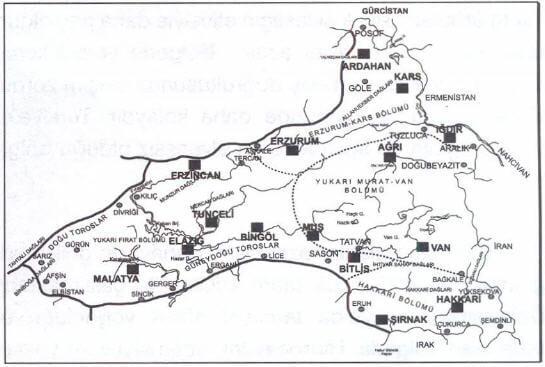 Doğu Anadolu Bölgesi Haritası