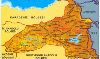 Doğu Anadolu Bölgesi Yer Şekilleri Haritası