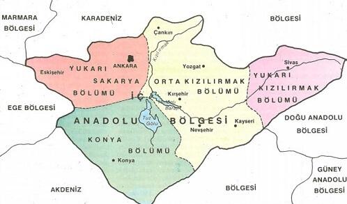 İç Anadolu Bölgesi Bölümleri