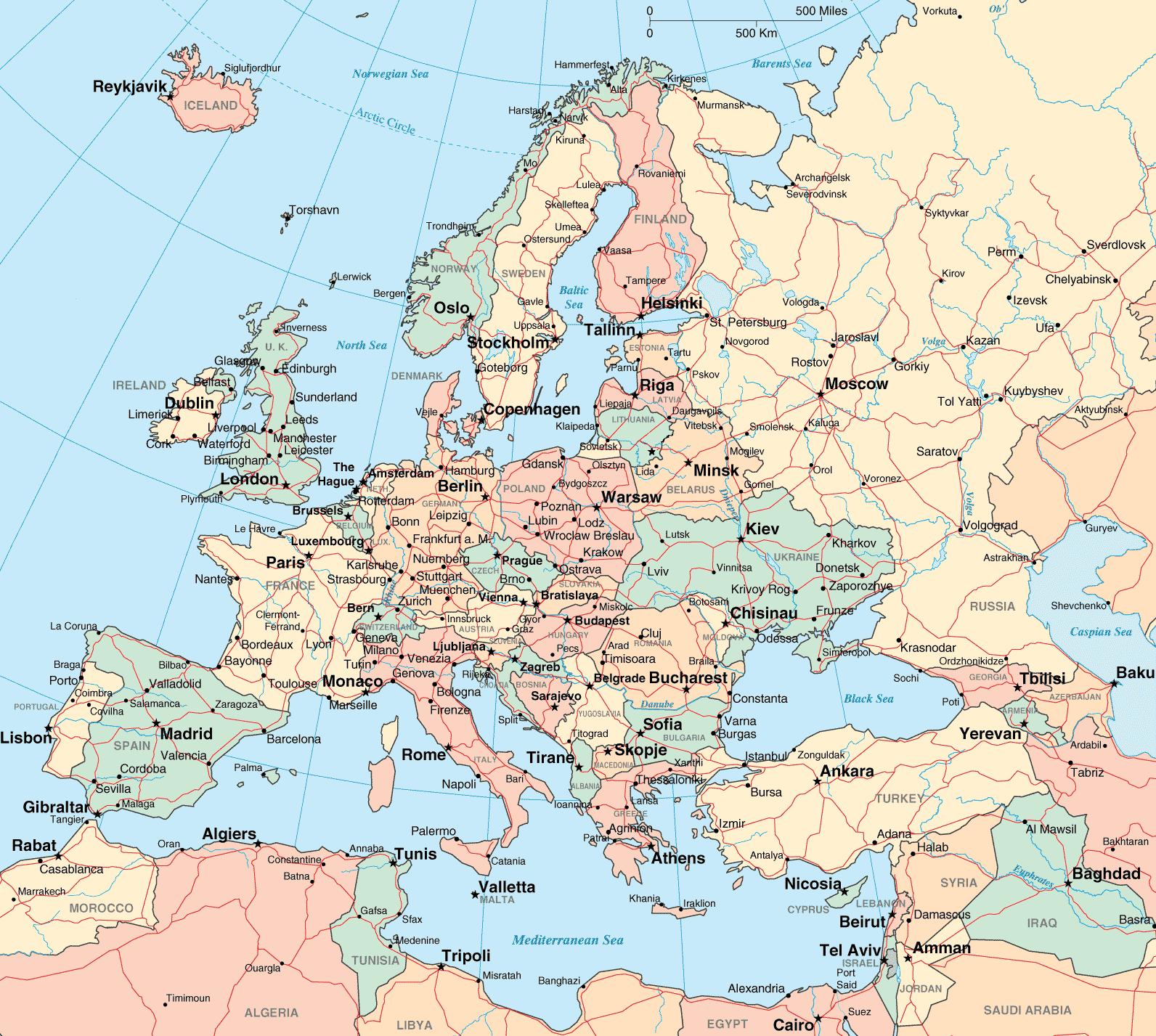 Avrupa Ülkeler ve Şehirleri Haritası