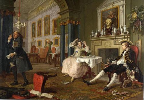 William Hogarth'ın 'Marriage a la Mode' (1743) adlı tablosu seri mizansenler ile görgüsüzlüğü eleştirmektedir.