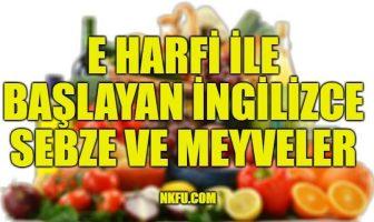 E Harfiyle Başlayan İngilizce Meyveler ve Sebzeler