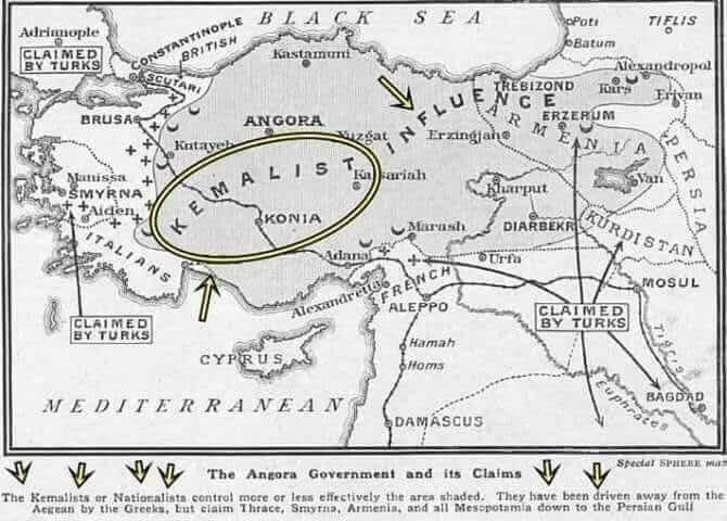 5 Mart 1921 tarihli Sphere gazetesinde çıkan bu harita, o dönemin Türkiye haritası