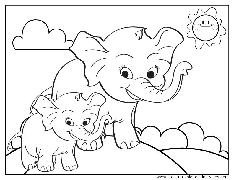 Sevimli filler boyama sayfası