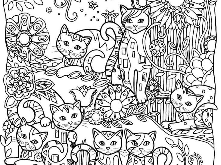 Sanatsal kedi boyama sayfası. Kedi severler için muhteşem.