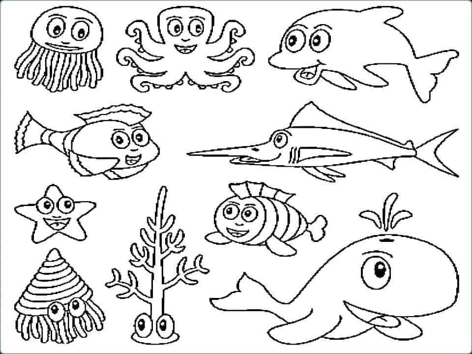 Deniz canlılarını sevelim konseptine uygun boyama sayfaları