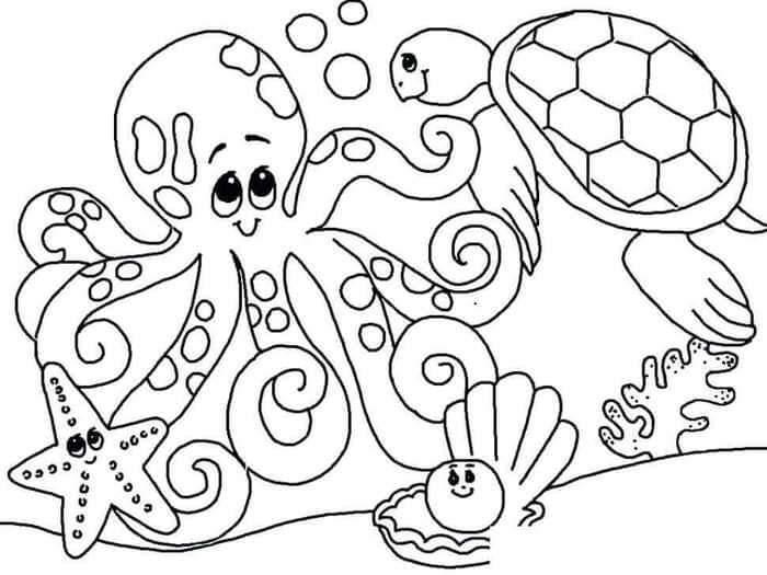 Deniz canlıları boyama sayfası