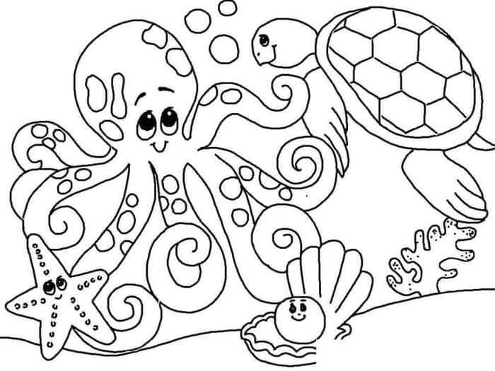 Deniz Canlilari Resmi Boyama Coloring Free To Print