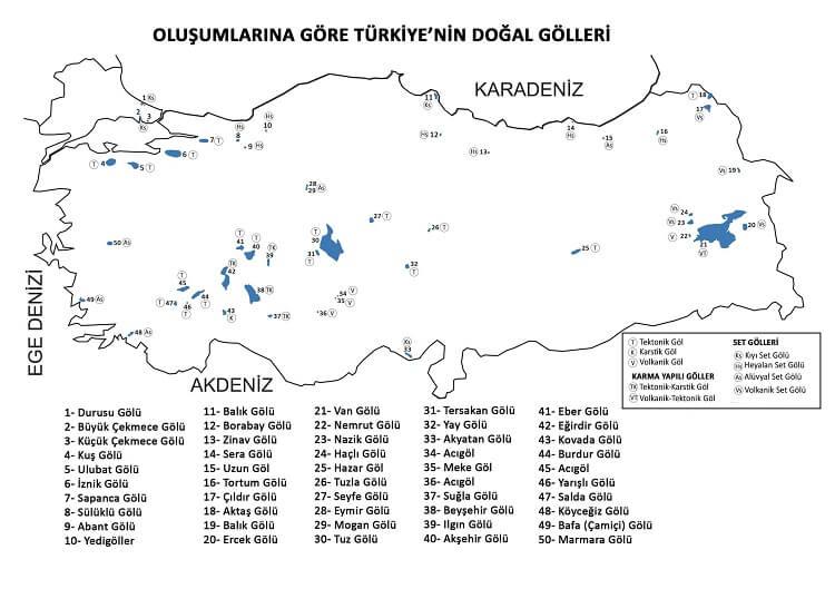 Türkiyedeki göller haritası