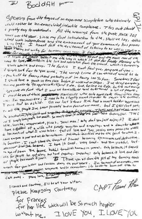 Kurt Cobain İntihar Mektubu