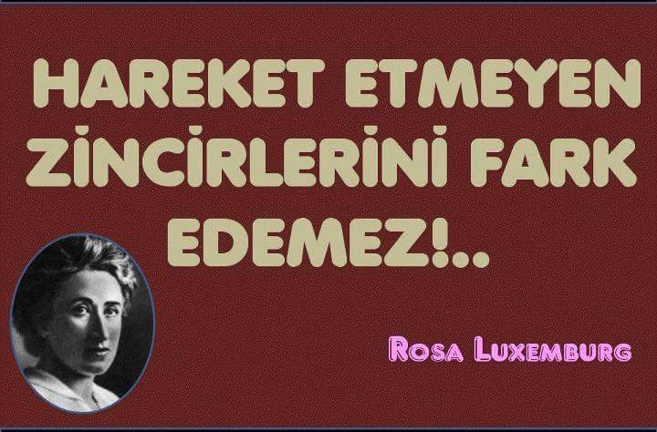 Rosa Luxemburg Sözü : Hareket Etmeyen Zincirlerini Fark Edemez!..