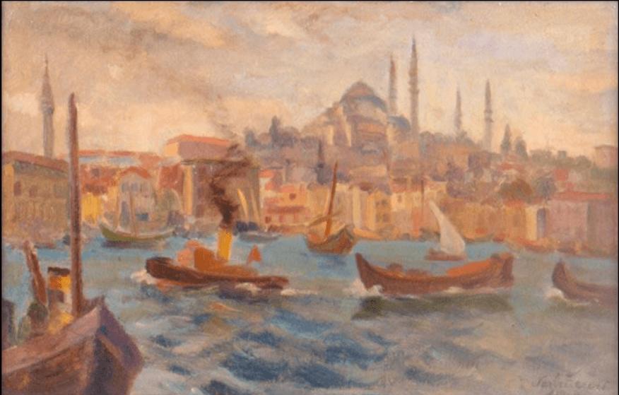Nazlı Ecevit'in Haliç'ten Süleymaniye isimli yağlıboya eseri.