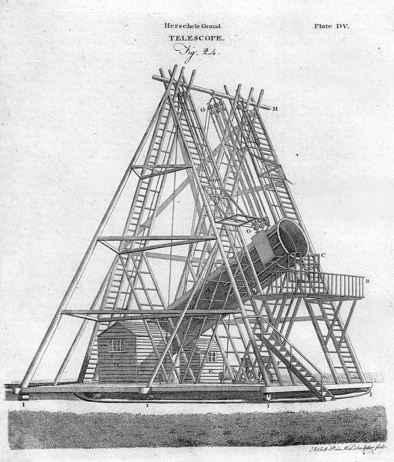 """William Herschel'in 1789 tarihli 49 inç (1.200 mm) """"40 fit"""" teleskopu. 1797'de yayınlanan Encyclopædia Britannica Third Edition'dan bir örnek."""